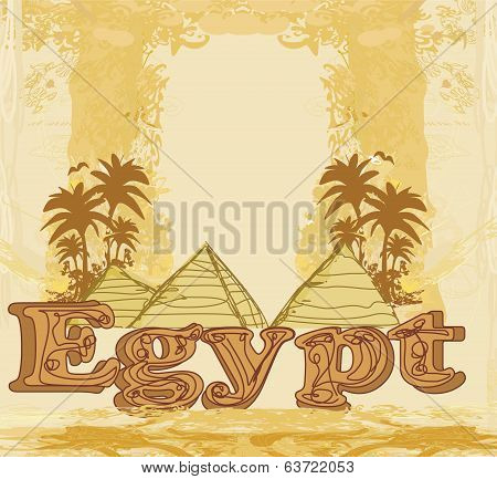 Vintage Frame With Pyramids Giza