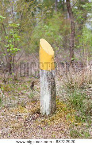 Yellow Marking At A Walking Path