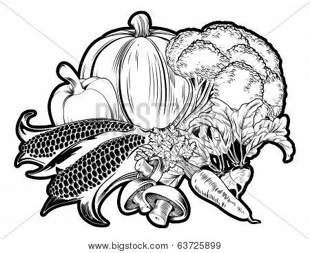 Vegetables Food Group Illustration