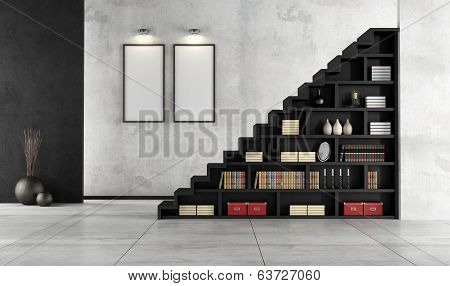 Living Room With Wooden Staircase And Bookcase