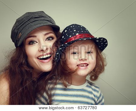 Fashion Mother And Kid With Happy Smiling Looking In Caps. Vintage