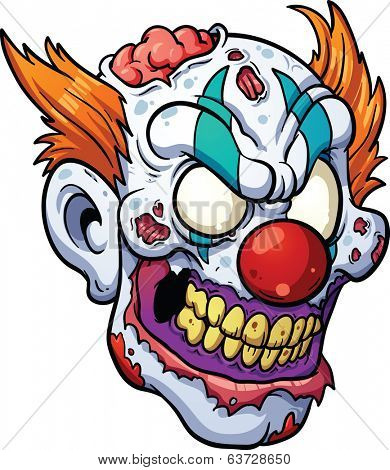 Zombie clown head. Vector clip art illustration with simple gradients. All in a single layer.
