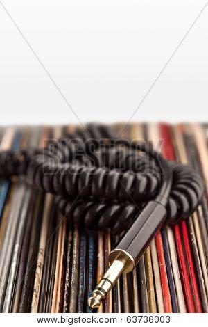 Headphone Jack And Vinyl Records.