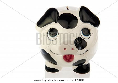 Pig In Black White Cow Print, Top Frontal