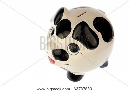 Pig In Black White Cow Print, Top Side Left