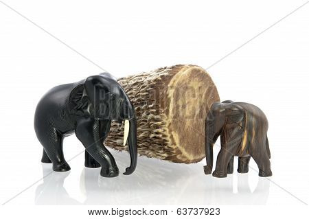 Carved Elefants And African Drum