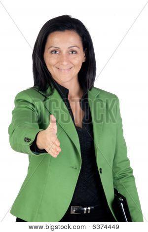 Businesswoman Forging A Deal