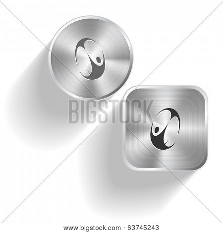 Skydiver. Raster set steel buttons