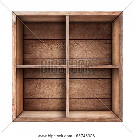 wooden box, shelf or crate isolated on white