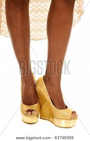 African American Woman Legs Heels Front