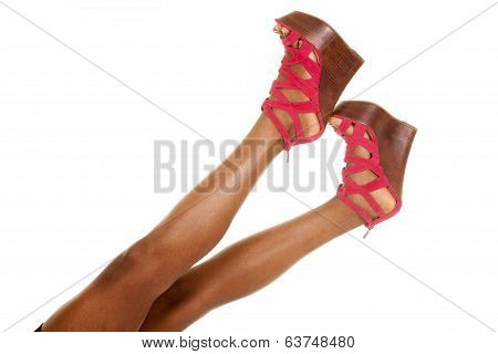 African American Woman Legs Red Shoes Up