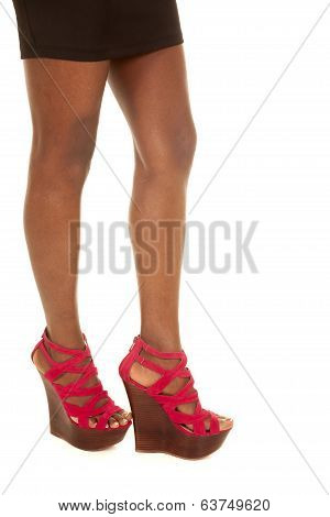 African American Woman Stand Legs Red Heels Side