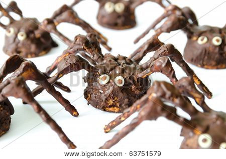 Chocolate Homemade Spiders Isolated On White Background