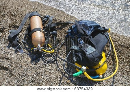 Set of Scuba Diving equipment.