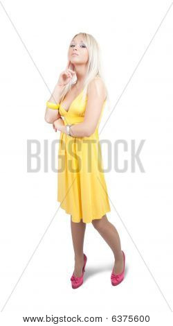 Standing Girl In  Yellow Dress