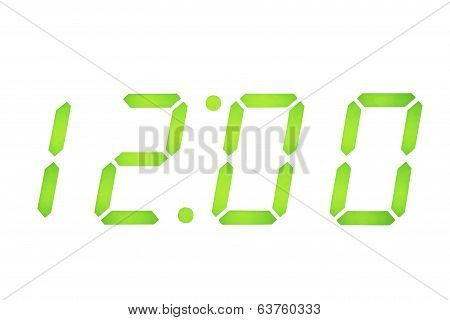 Digital Clock Display On 12:00