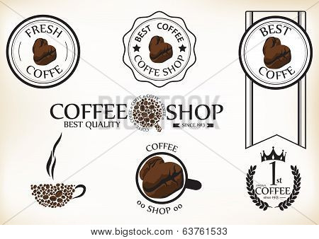 Set of vintage retro coffee shop badges and labels