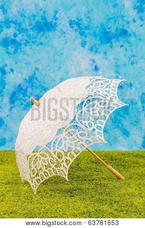 White lacy umbrella