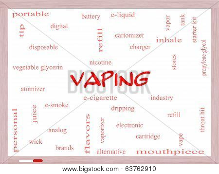 Vaping Word Cloud Concept On A Whiteboard