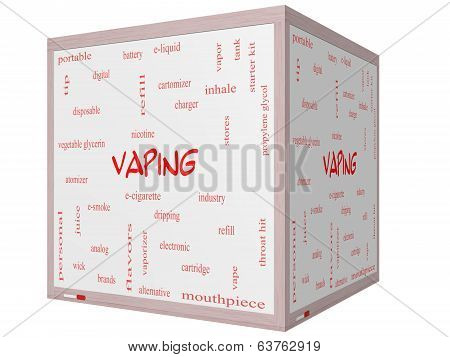 Vaping Word Cloud Concept On A 3D Cube Whiteboard
