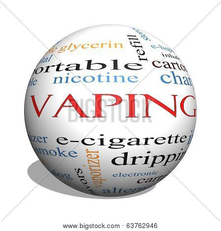 Vaping 3D Sphere Word Cloud Concept