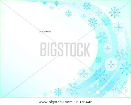 Blue background of flakes and place for text