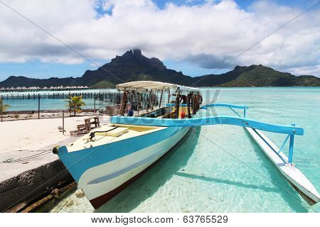 A boat with Bora Bora in the background