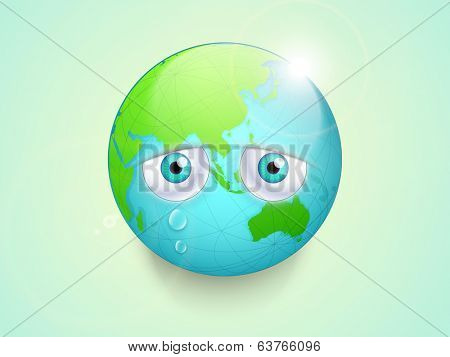 Save the earth concept, Illustration of mother earth with sad eyes on green background for world environment day.