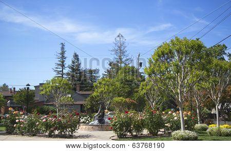 Van De Leur Park with Firefighters Monument in Yountville