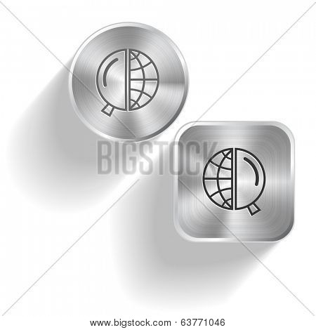 Globe and magnifying glass. Vector set steel buttons