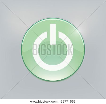 Green glowing power on or off button. Vector illustration