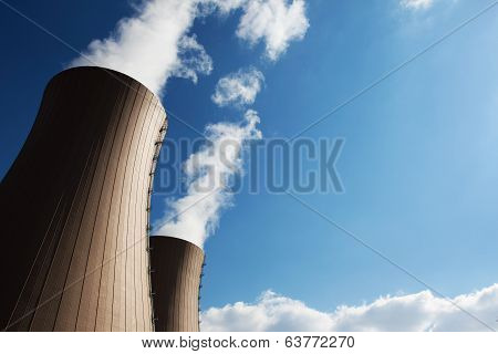 Cooling Towers Of Nuclear Power Plant Against The Sky