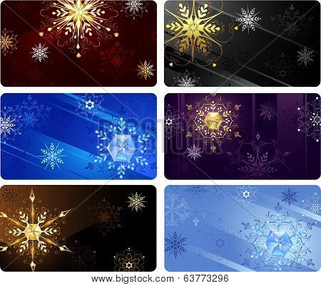 business cards with snowflakes