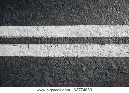 Double White Lines Divider On Blacktop Horizontal