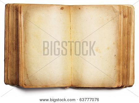 Old Book Open Blank Pages, Empty Yellow Paper Isolated On White Background