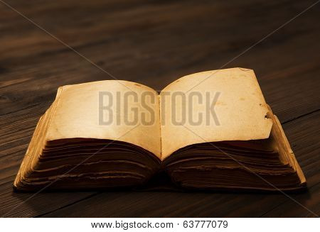 Old Book Open Blank Pages, Empty Yellow Paper On Wooden Table