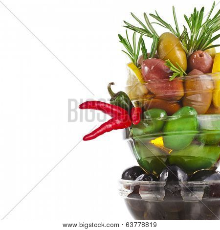 olives with herb spice tower border with copy space isolated on a white background