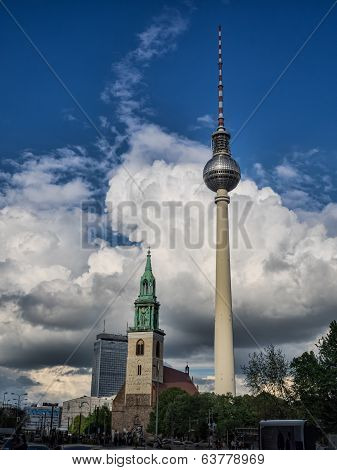 View of Tv Tower of Berlin with Maria church - in Germany