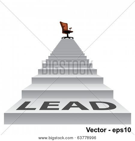 Vector concept conceptual 3d lead stair climbing to a leader,chief or promotion chair on top isolated white background