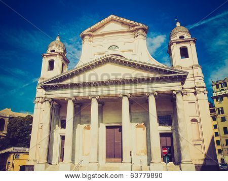 Retro Look Santissima Annunziata Church In Genoa Italy