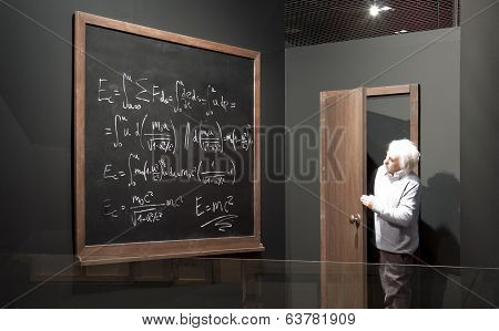 Chalkboard With Math Formulas And Einstein Model.