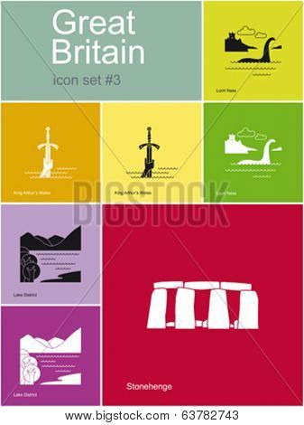 Landmarks of Great Britain. Set of flat color icons in Metro style. Editable vector illustration.