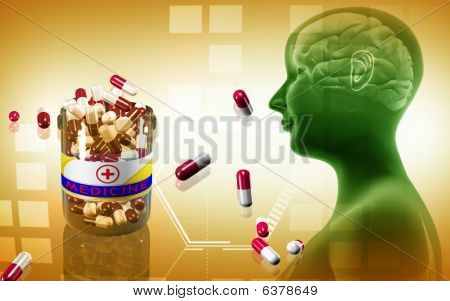 Human Brain and capsule bottle