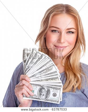 Portrait of cute happy girl holding in hand a lot american dollars, isolated on white background, spending money concept