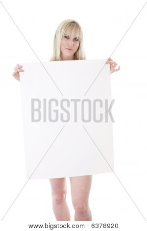 blonde hidden with poster board