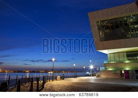 View Of The Pier Head In Liverpool At Dusk