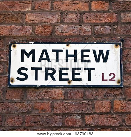 Mathew Street Sign In Liverpool