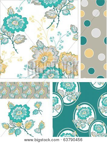 Floral Rose Vector Patterns.  Use as pattern fills to create stunning items for art and craft projects.