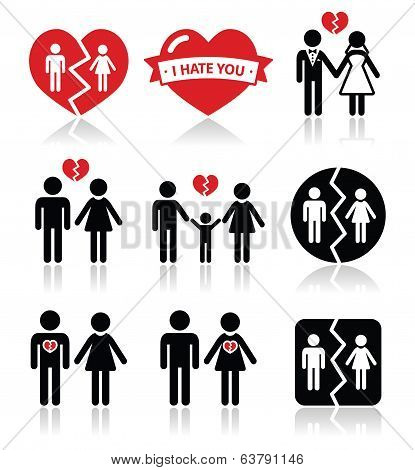 Couple breakup, divorce vector icons set