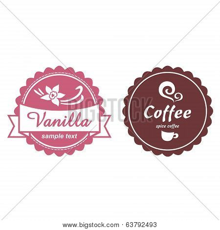 Product labels for cafe logo, suitable for desserts.